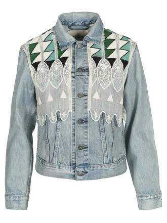 jacket denim jacket denim short embroidered light blue light blue