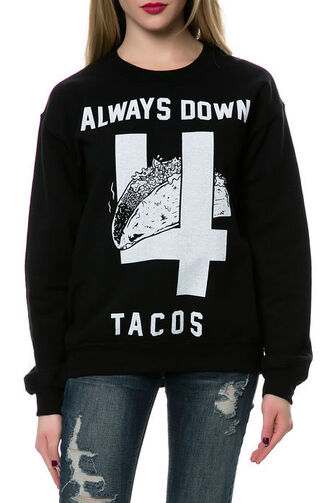 sweater sweatshirt black food shirt white tacos