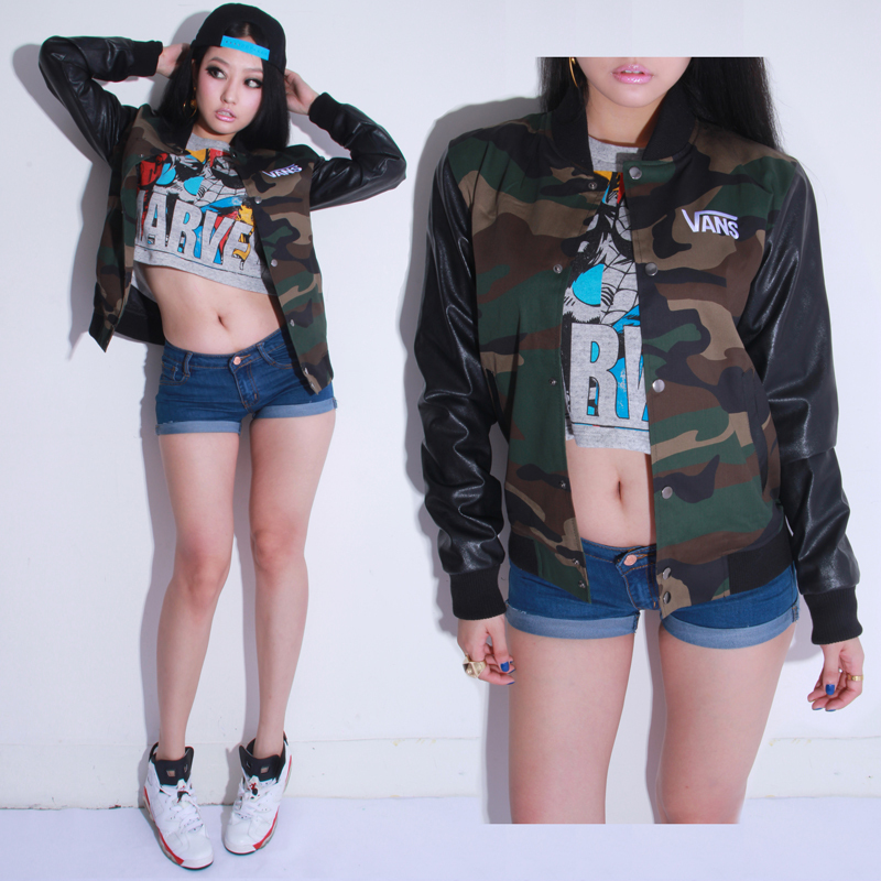 Ranya's fashion store Lovers classic Camouflage cool unisex leather skateboard women outerwear baseball jacket free shipping-inBasic Jackets from Apparel & Accessories on Aliexpress.com