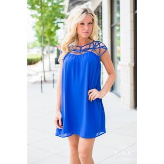 dress blue symmetrical asymmetrical spring