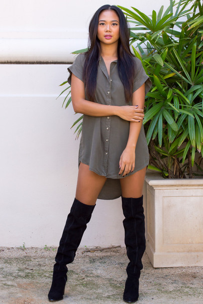 Dress olive dress olive green boots thigh highs thigh high boots fall outfits fall dress ...