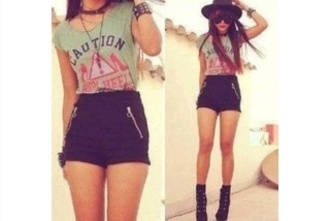 shirt shorts high waisted black shorts shoes t-shirt jewels hat short bag black high heels heels black caution blouse high waisted shorts hipster wishies^^i luv this shorts cool class chic hair accessory accessories girly caution shirt platform shoes lace-up shoes corset sunglasses leather shorts tan legs long hair green blouse cute outfit style weheartit top flawless zipper shorts club shorts dressy casual zipper shorts pockets summer shorts tumblr clothes zip summer trendy rock high waisted black shorts mint fedora high heels