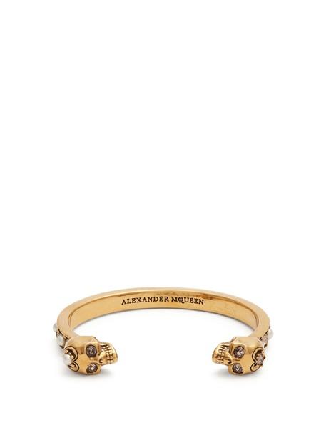 Alexander Mcqueen cuff skull embellished gold jewels