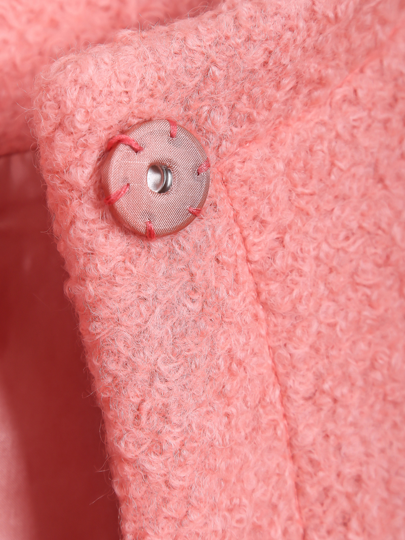 Pink Long Sleeve Simple Design Woolen Coat - Sheinside.com