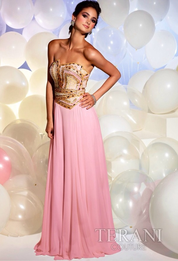 dress terani couture pink gold rhinestones diamonds