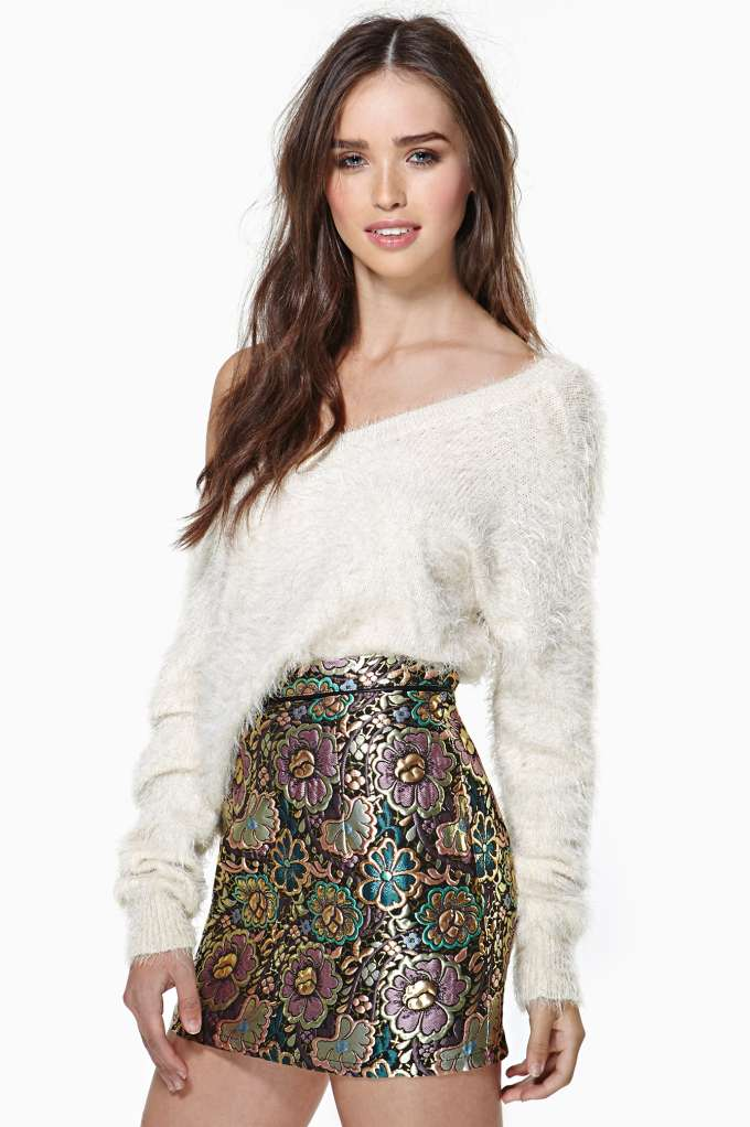 Gilded Garden Jacquard Skirt in  Clothes Bottoms Skirts at Nasty Gal