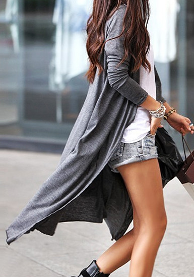 Collar Maxi Cardigan - Grey - Lookbook Store