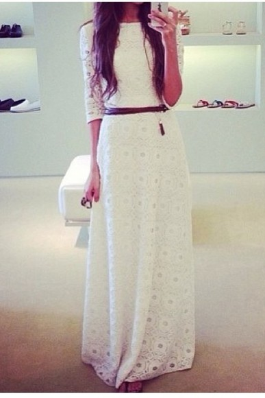 dress maxi dress crochet maxi dress crochet lace dress white lace 3/4 sleeves 3/4 sleeve