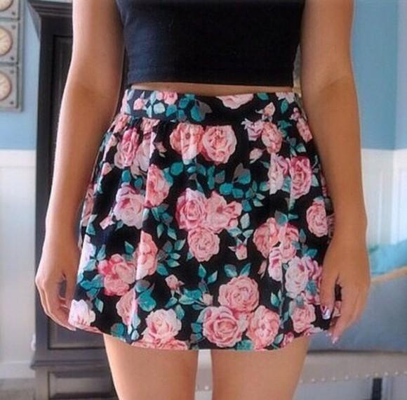 floral skirt black skirt floral