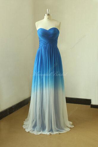 dress ombre ombre dress long bridesmaid dress blue wedding dress bridal gown