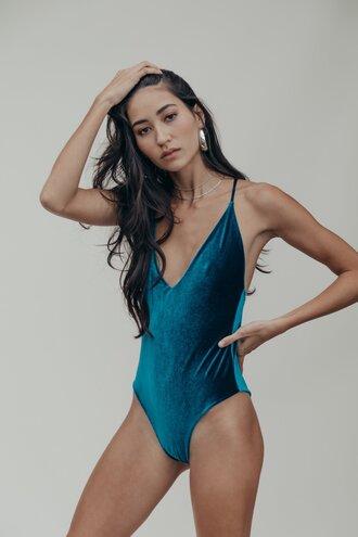 swimwear one piece swimsuit one piece blue swimwear velvet