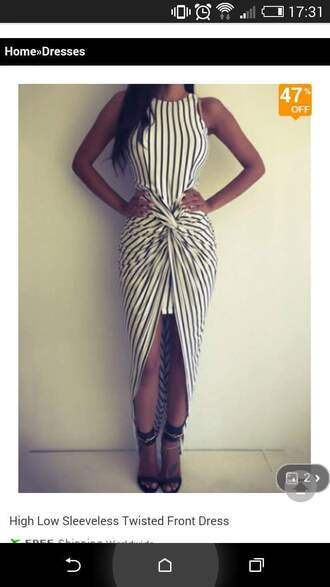 dress black dress black and white stripes