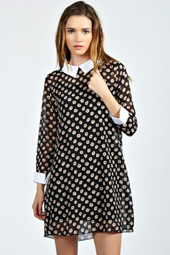 Polly ditsy floral print collar shift dress at boohoo.com
