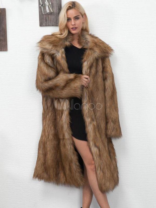 Faux Fur Long Coat Turndown Collar Oversized Brown Winter Coat For Women