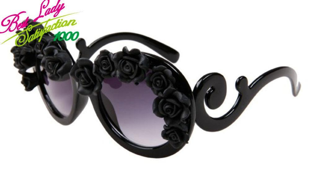 2014 new arrival summer black semi rimless sunglasses beach black flower rose  flowers sunglasses 2335-in Sunglasses from Apparel & Accessories on Aliexpress.com