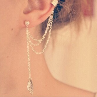 jewels ear chain jewelry earrings ear cuff feathers