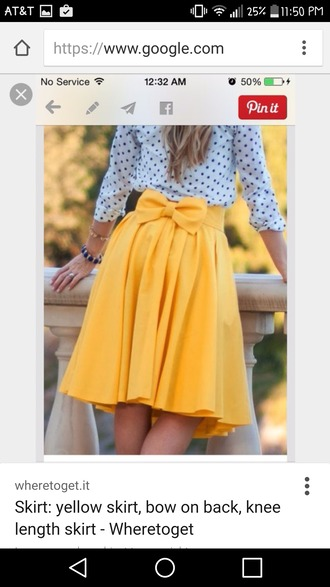 skirt the yellow skirt with bow