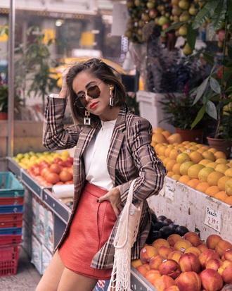 jacket blazer check blazer skirt mini skirt red skirt plaid plaid blazer earrings