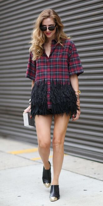 blouse plaid tops feathers