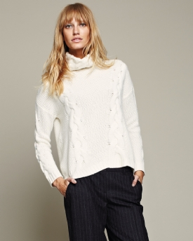 Cashmere Textured Roll Neck Sweater | Clothing | Pure Collection