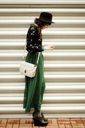 dress,green,maxi dress,boho,chiffon,flowy,fedora,white bag,platform shoes,cardigan,black,black fedora