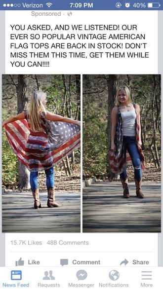 top american flag cover tanktop cardigan