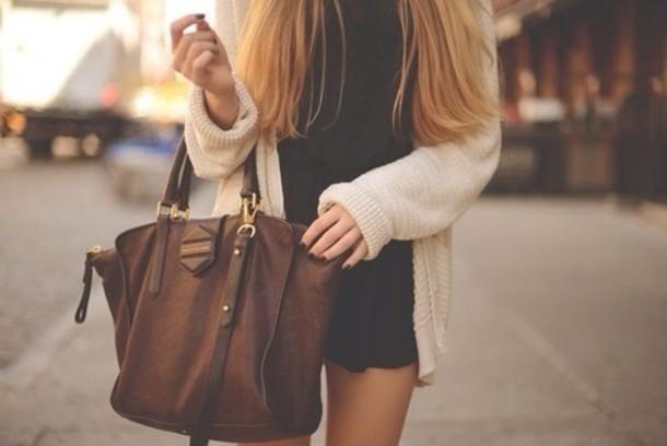 brown bag cardigan white jacket black dress mini dress bag brown