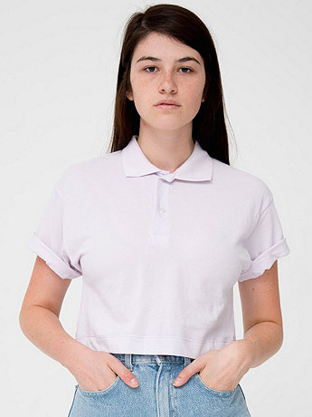 Crop Piqué Tennis Shirt  | American Apparel