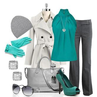 blouse turtleneck high heels sunglasses outfit pants work coat handbag earrings gloves tam necklace