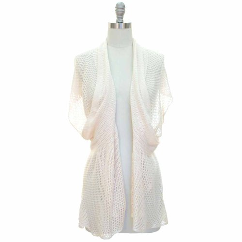 Luxury divas ivory open knit crochet cardigan cover up
