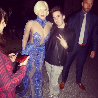 dress lady gaga blue dress celebrity