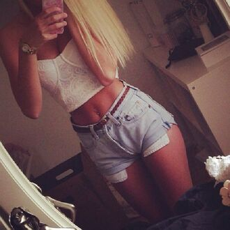 shorts denim tank top bandeau lace light blue blonde hair iphone leather