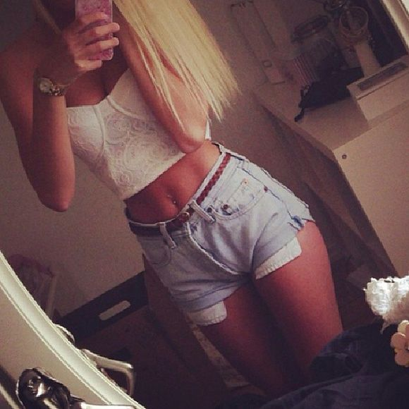 shorts tank top tank denim bandeau lace light blue blonde iphone leather