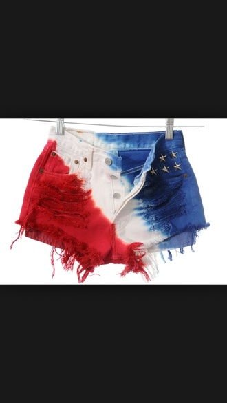shorts july 4th red white and blue red white blue cute shorts summer style tie dye denim shorts stars american flag shorts