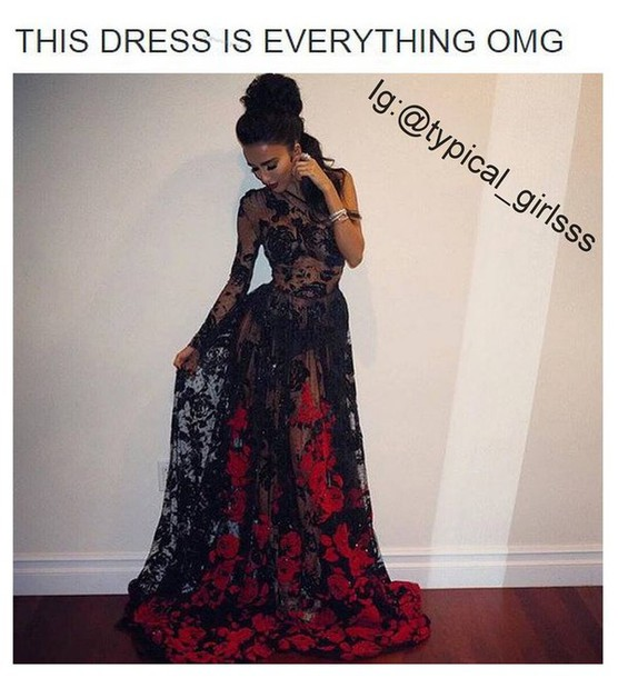 dress lace dress gown black red roses lily shahs of