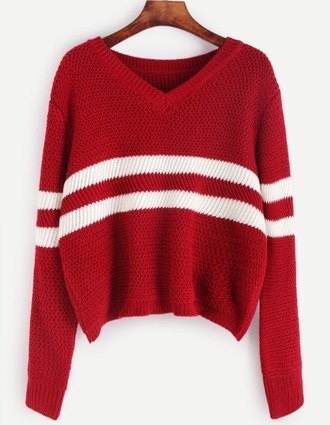 sweater girl girly girly wishlist red white knit knitwear knitted sweater v neck