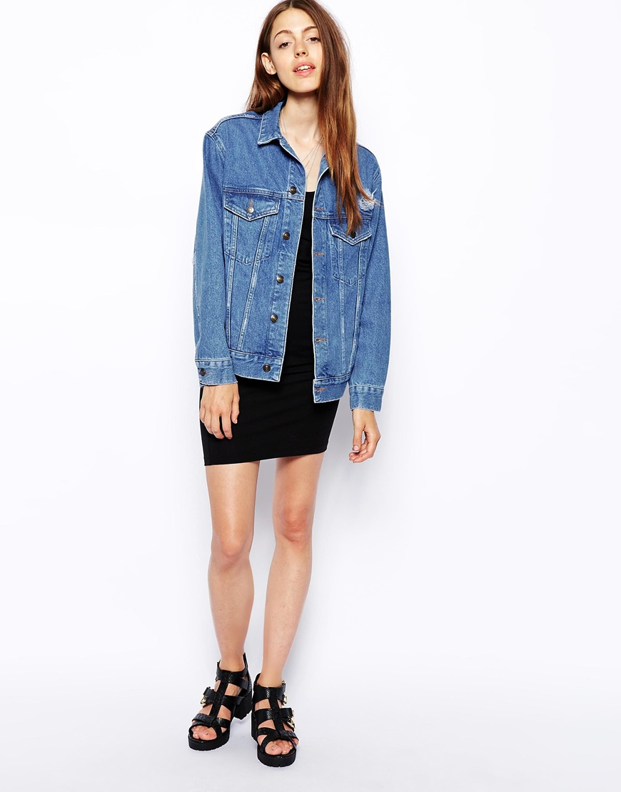 ASOS Denim Jacket With Raw Edge at asos.com