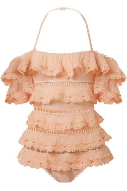 Zimmermann heart love lace peach swimwear