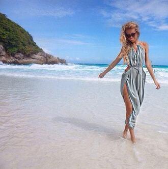 dress cover up cover up for beach beach dress bikini luxe blue chiffon dress maxi dress summer dress bikiniluxe