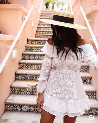 dress hat tumblr white dress mini dress off the shoulder off the shoulder dress sun hat