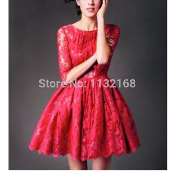 Aliexpress.com : Buy Modest Affordable A line lace Short Prom Dress,Beautiful red lace mini middle sleeves Christmas cocktail party dress homecoming from Reliable Homecoming Dresses suppliers on Making your dreaming dress!