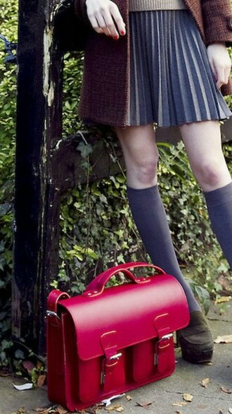 bag leather bag school bag red bag