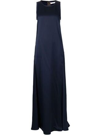 gown sleeveless blue dress