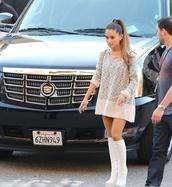 dress,white dress,oversized sweater,awards,white boots,ariana grande,ariana grande dress white,jai brooks,shoes,sweater