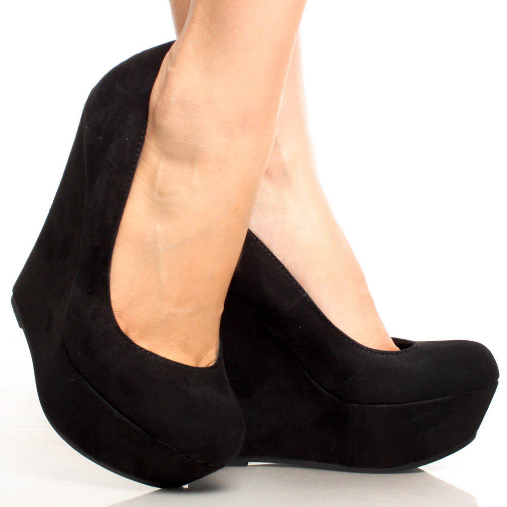 Black Wedges Heels - Jlgz I