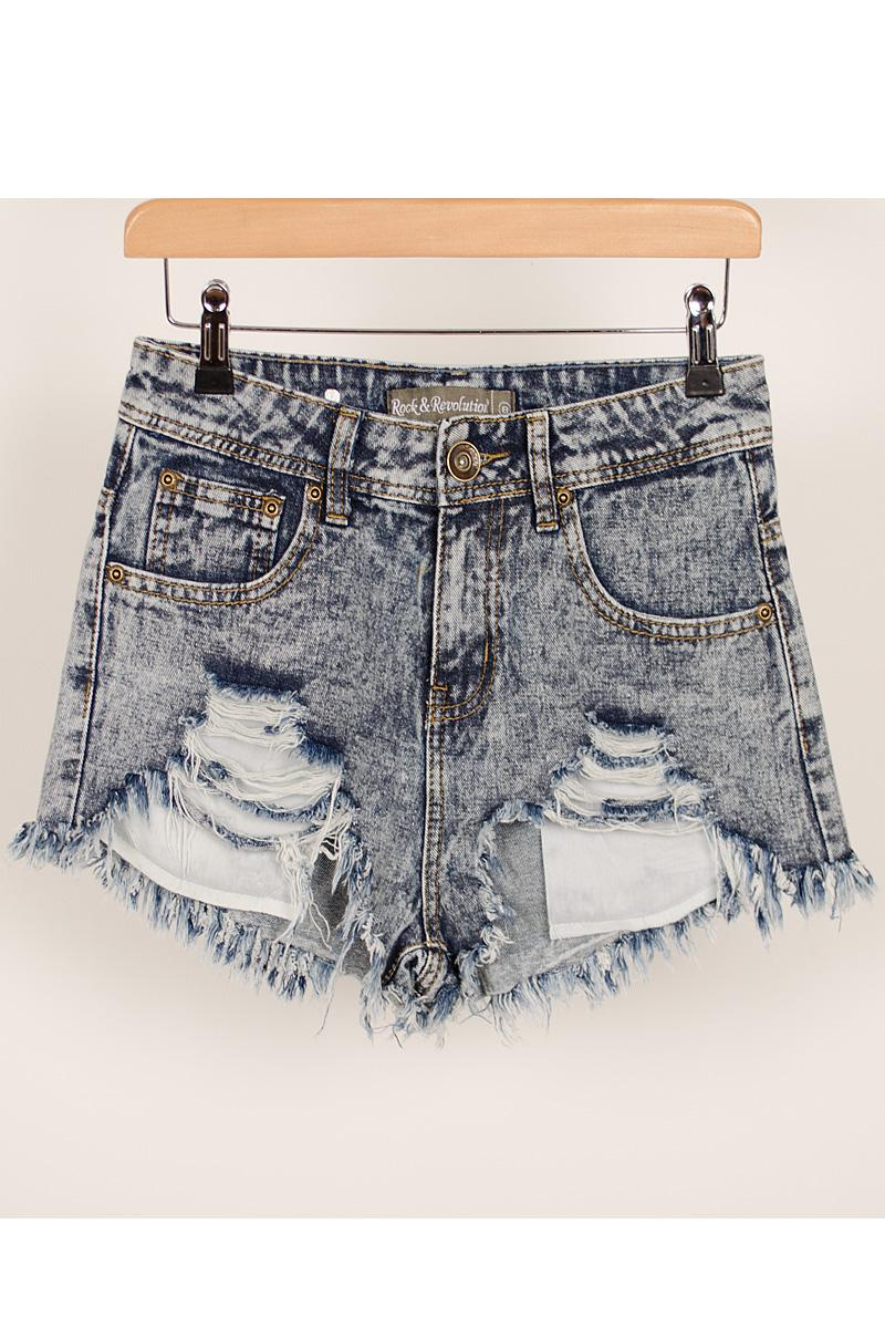 Denim Shorts Hotpants Highwaisted Dark Acid Wash Frayed Distressed ...