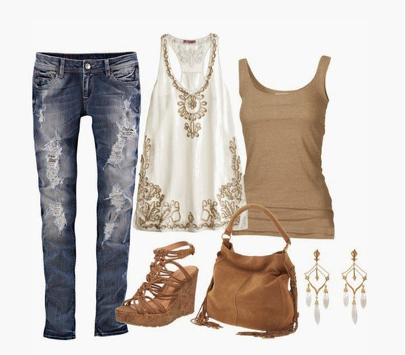 top shirt shoes high heels bag purse clothes outfit tank top earrings sleeveless jeans pants wedge heels wedges white tank top indian pattern embroidered drop earrings white earrings ripped jeans sandy tank top