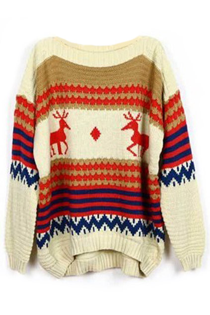 ROMWE | Asymmetric Color Block Striped Deer Pattern Cream Jumper, The Latest Street Fashion