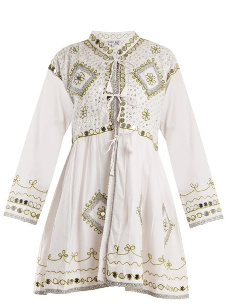 dress embroidered embellished cotton white