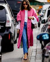 coat,pink coat,pearl,bell sleeves,white blouse,jeans,pumps,sunglasses